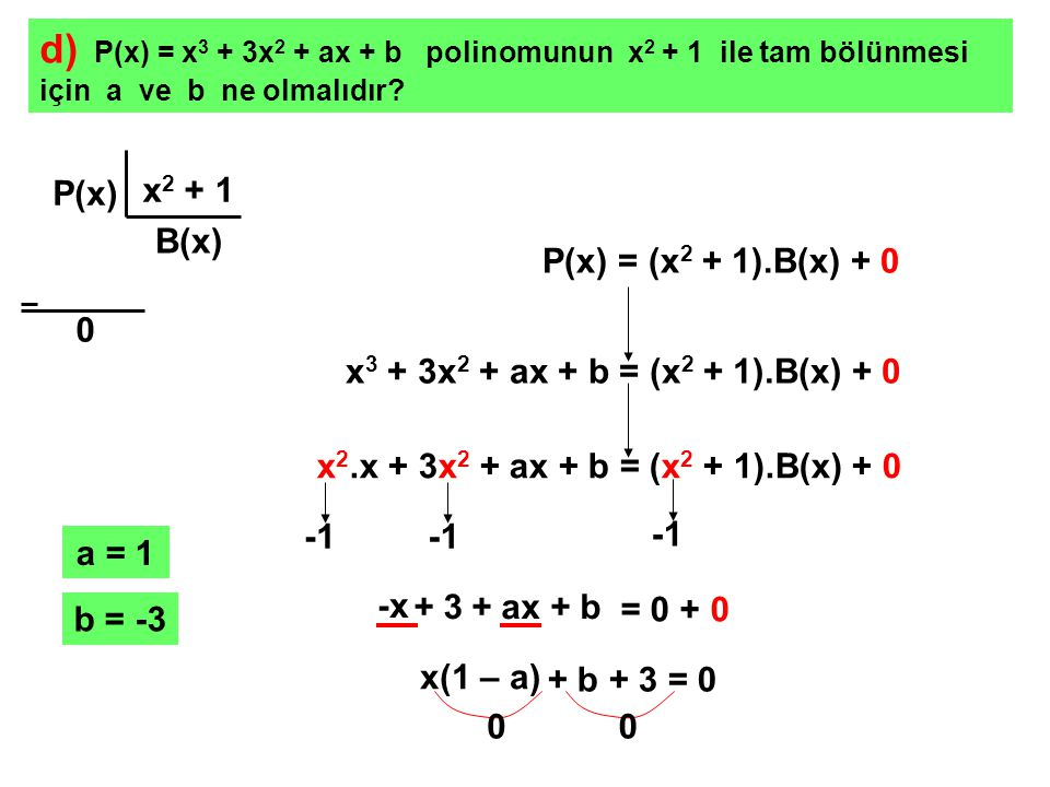 d) P(x) = x3 + 3x2 + ax + b polinomunun x2 + 1 ile tam bölünmesi için a ve b ne olmalıdır