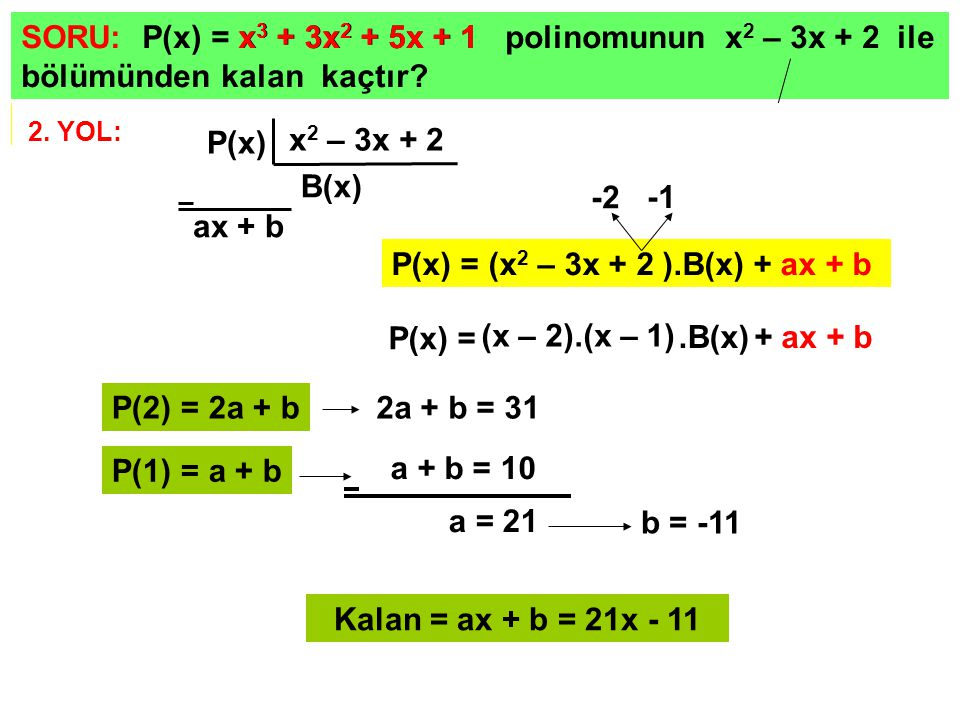 P(x) = (x2 – 3x + 2 ).B(x) + ax + b