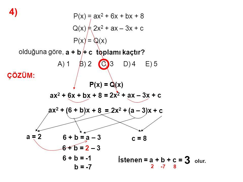 3 4) A) 1 B) 2 C) 3 D) 4 E) 5 P(x) = ax2 + 6x + bx + 8