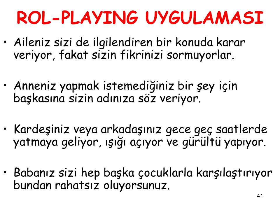 ROL-PLAYING UYGULAMASI