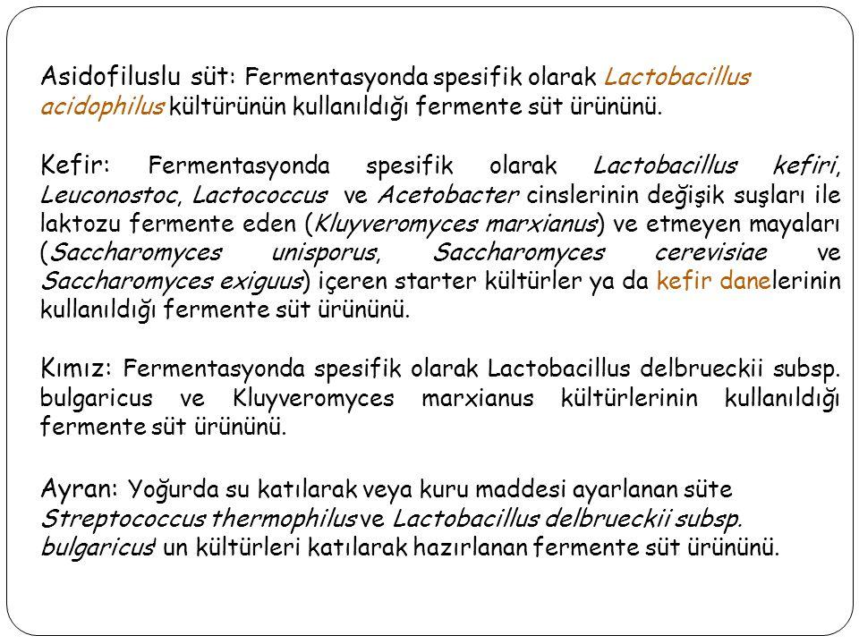 Asidofiluslu süt: Fermentasyonda spesifik olarak Lactobacillus acidophilus kültürünün kullanıldığı fermente süt ürününü.