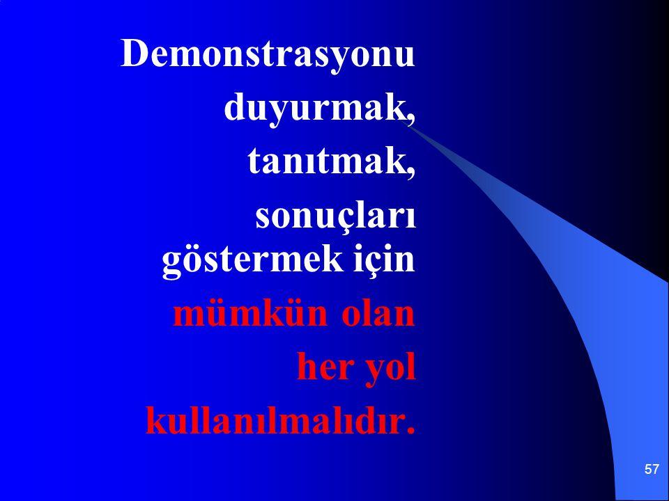 Demonstrasyonu duyurmak, tanıtmak, sonuçları göstermek için mümkün olan her yol kullanılmalıdır.