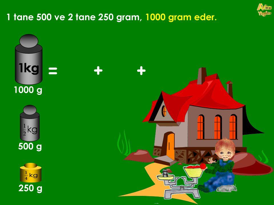 1 tane 500 ve 2 tane 250 gram, 1000 gram eder.