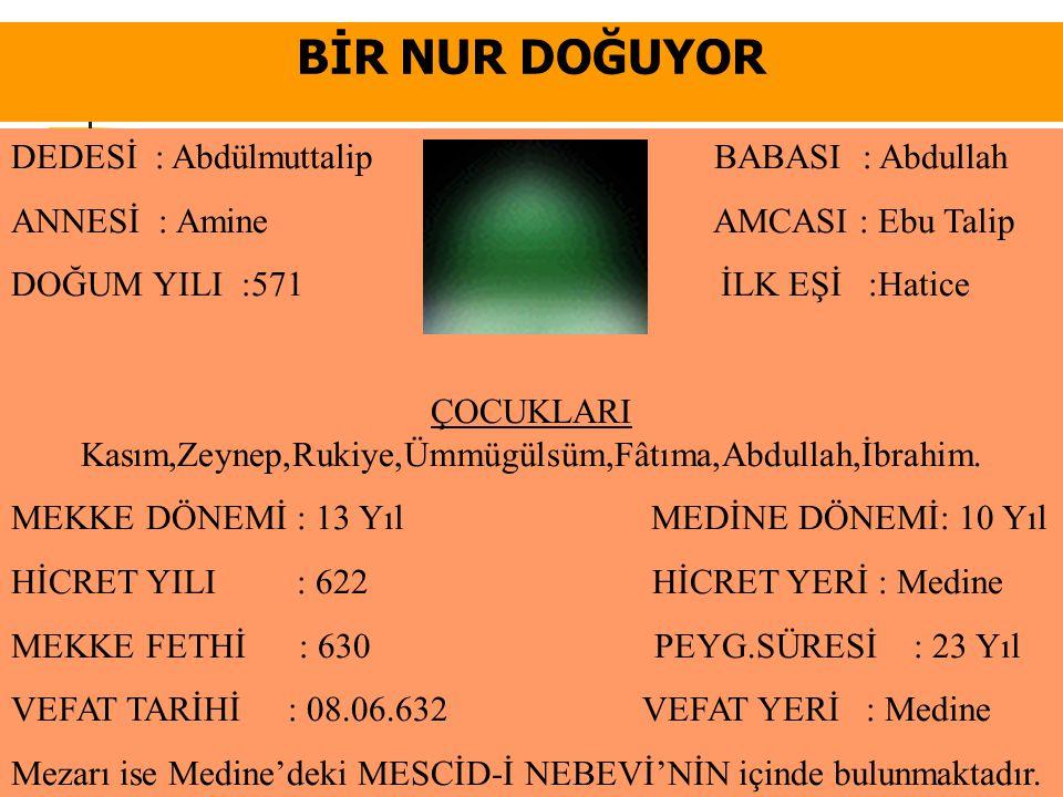 ÇOCUKLARI Kasım,Zeynep,Rukiye,Ümmügülsüm,Fâtıma,Abdullah,İbrahim.