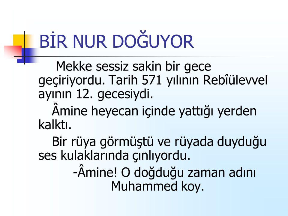 -Âmine! O doğduğu zaman adını Muhammed koy.