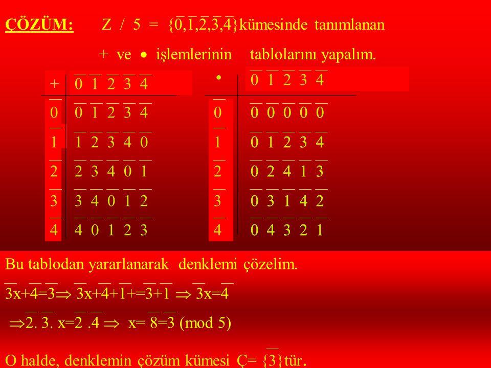ÖRNEK:Z / 5 t 3x+4 denkleminin çözüm kümesini bulunuz