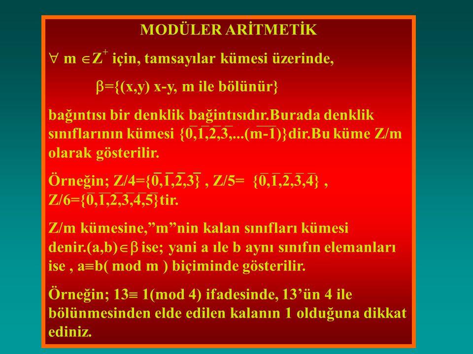 MODÜLER ARİTMETİK  m Z+ için, tamsayılar kümesi üzerinde, ={(x,y) x-y, m ile bölünür}