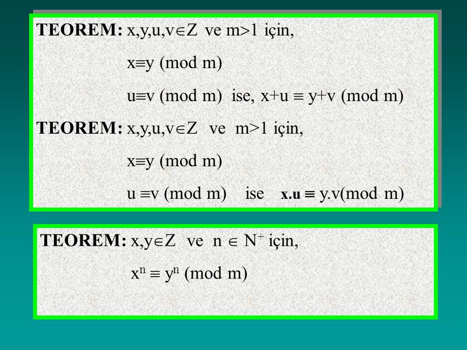 TEOREM: x,y,u,vZ ve m1 için,