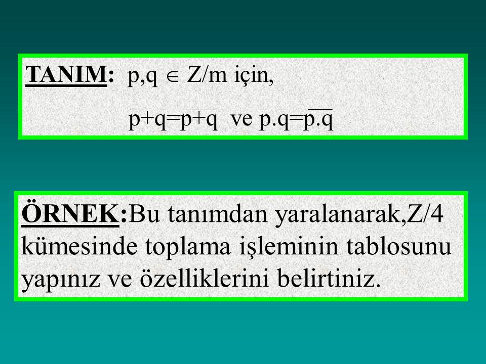 TANIM: p,q  Z/m için, p+q=p+q ve p.q=p.q.
