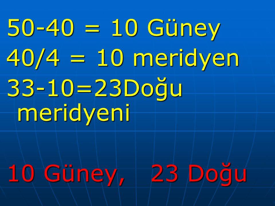 50-40 = 10 Güney 40/4 = 10 meridyen 33-10=23Doğu meridyeni 10 Güney, 23 Doğu
