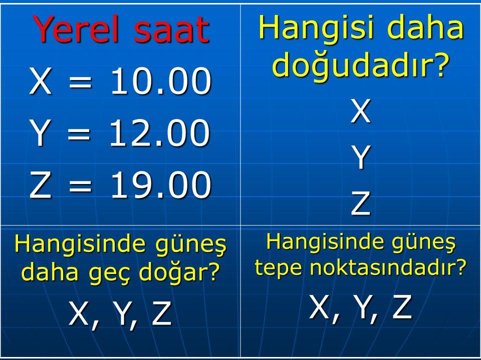 Yerel saat X = 10.00 Y = 12.00 Z = 19.00 Hangisi daha doğudadır X Y Z