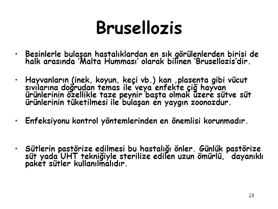 Brusellozis Besinlerle bulaşan hastalıklardan en sık görülenlerden birisi de halk arasında 'Malta Humması' olarak bilinen 'Brusellozis'dir.