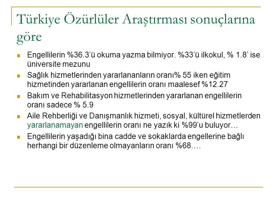 Türkiye Özürlüler Araştırması sonuçlarına göre