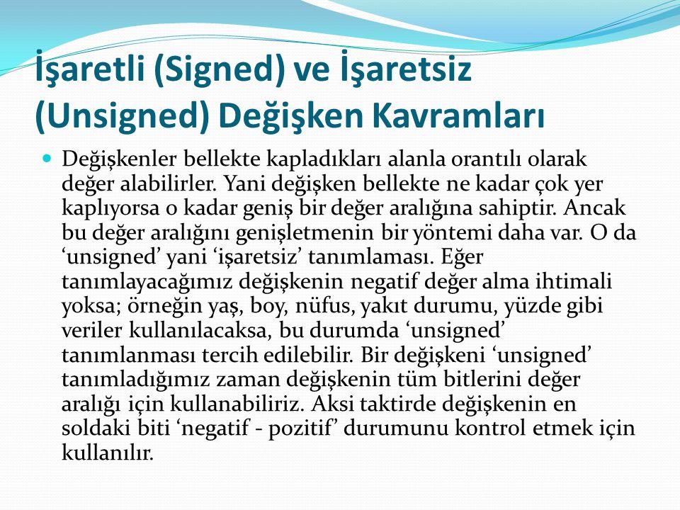 İşaretli (Signed) ve İşaretsiz (Unsigned) Değişken Kavramları