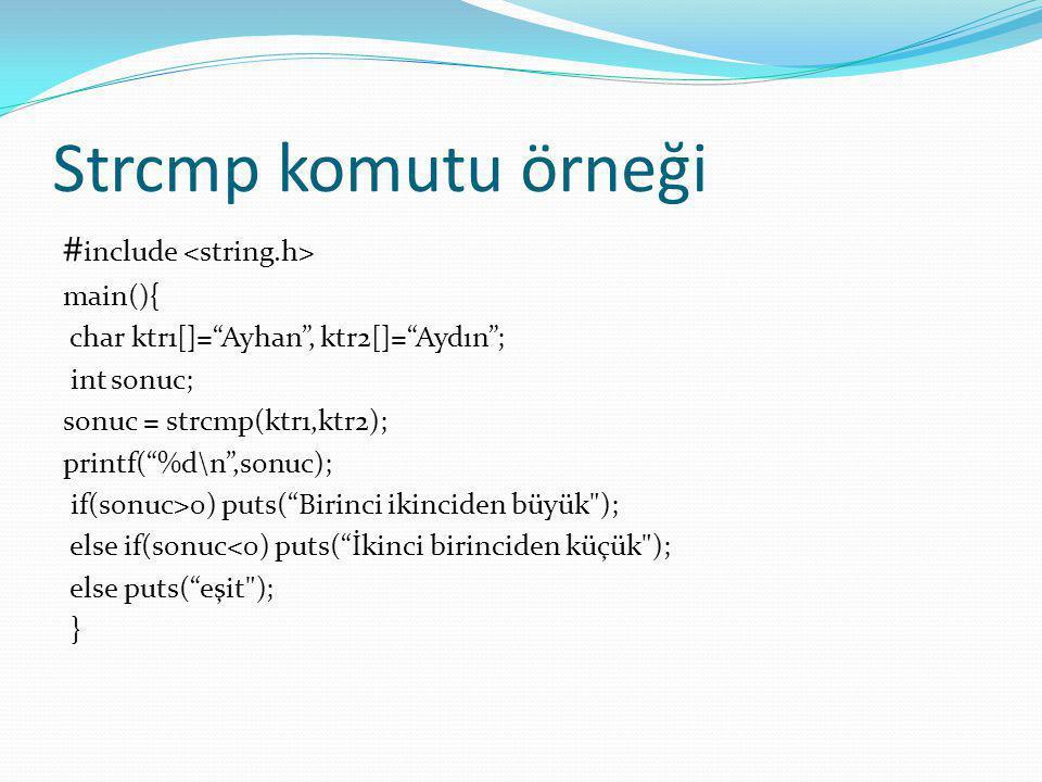 Strcmp komutu örneği #include <string.h> main(){