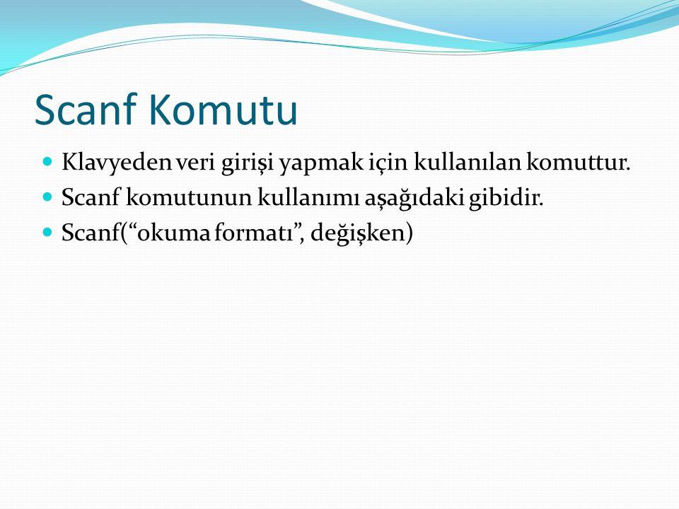 Scanf Komutu Klavyeden veri girişi yapmak için kullanılan komuttur.