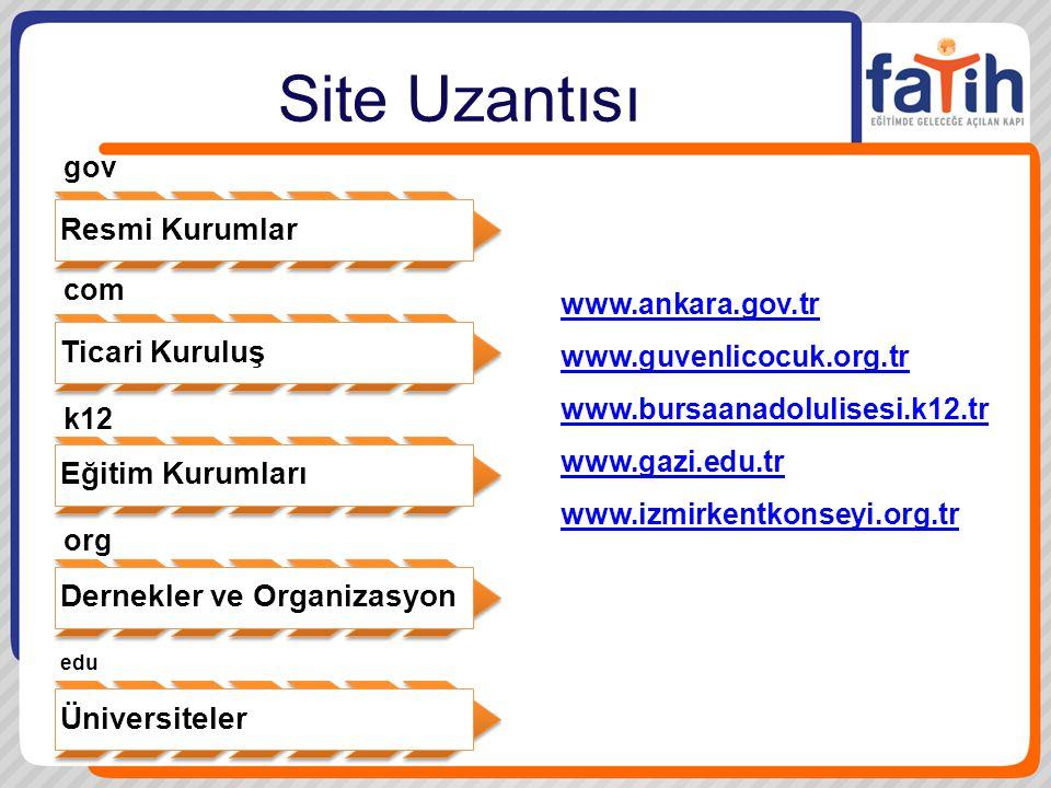 Site Uzantısı Resmi Kurumlar Ticari Kuruluş Eğitim Kurumları