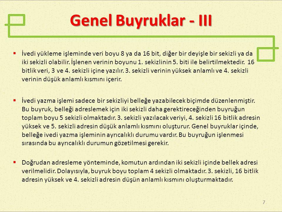 Genel Buyruklar - III
