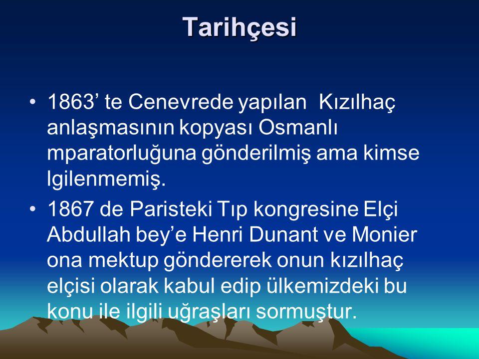 Tarihçesi 1863' te Cenevrede yapılan Kızılhaç anlaşmasının kopyası Osmanlı mparatorluğuna gönderilmiş ama kimse lgilenmemiş.