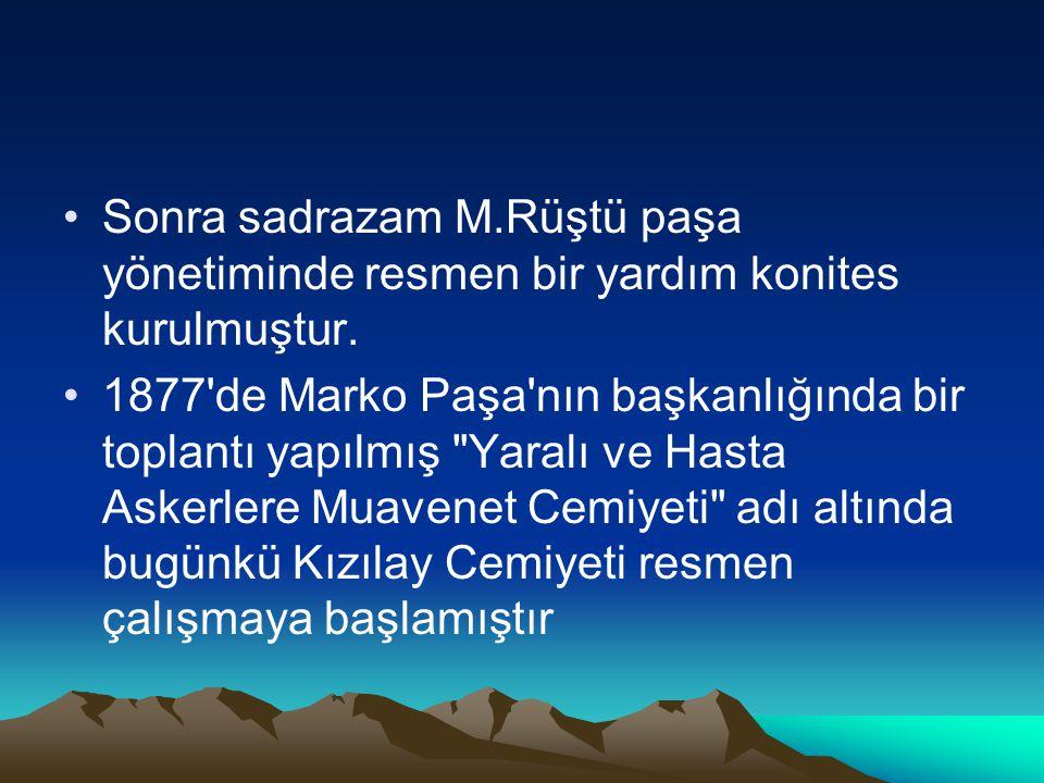Sonra sadrazam M.Rüştü paşa yönetiminde resmen bir yardım konites kurulmuştur.
