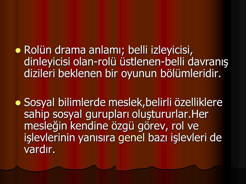 Rolün drama anlamı; belli izleyicisi, dinleyicisi olan-rolü üstlenen-belli davranış dizileri beklenen bir oyunun bölümleridir.