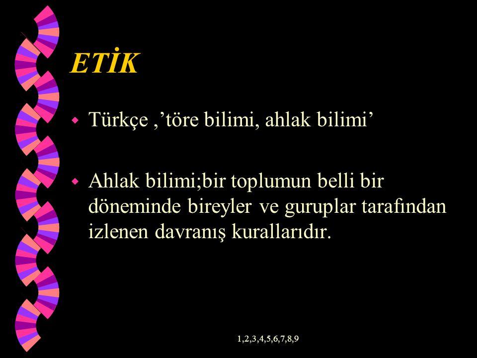 ETİK Türkçe ,'töre bilimi, ahlak bilimi'