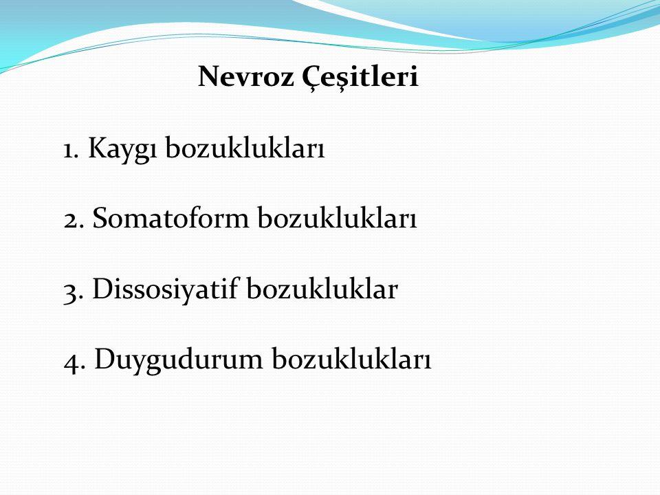 Nevroz Çeşitleri 1. Kaygı bozuklukları 2. Somatoform bozuklukları