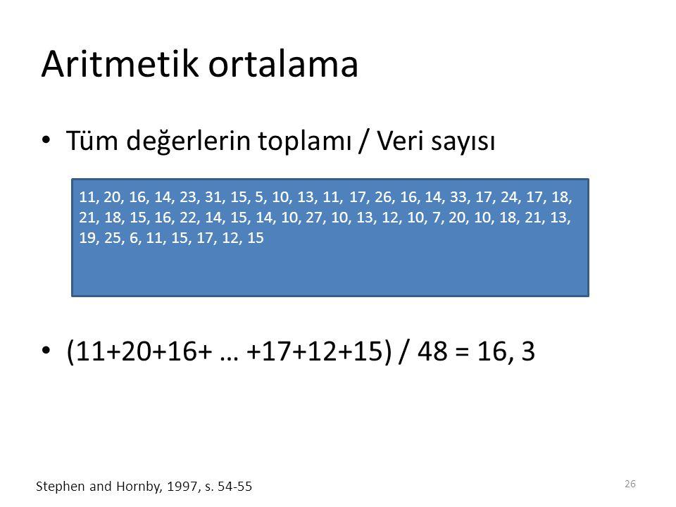 Aritmetik ortalama Tüm değerlerin toplamı / Veri sayısı
