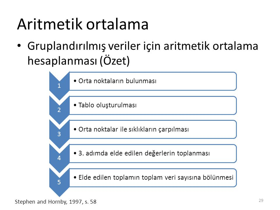 Aritmetik ortalama Gruplandırılmış veriler için aritmetik ortalama hesaplanması (Özet) 1. Orta noktaların bulunması.
