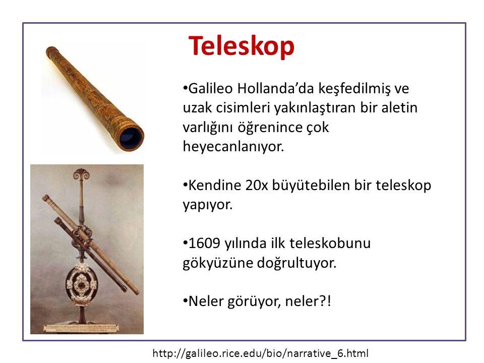 Teleskop Galileo Hollanda'da keşfedilmiş ve uzak cisimleri yakınlaştıran bir aletin varlığını öğrenince çok heyecanlanıyor.