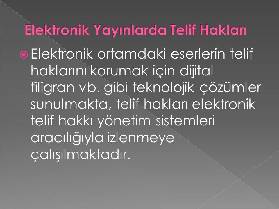 Elektronik Yayınlarda Telif Hakları