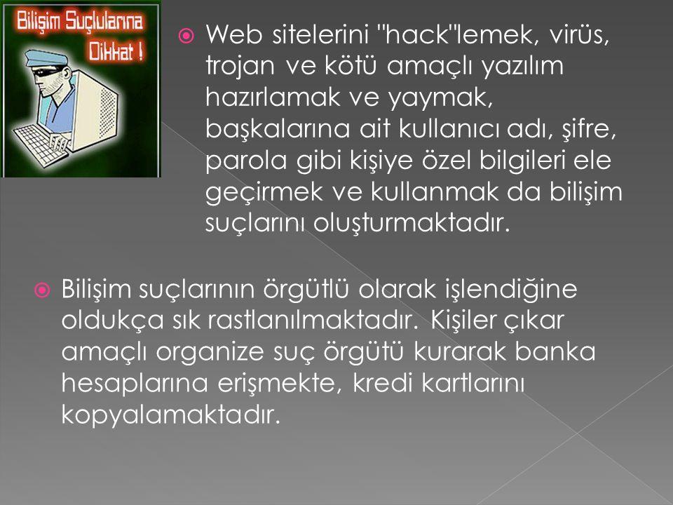 Web sitelerini hack lemek, virüs, trojan ve kötü amaçlı yazılım hazırlamak ve yaymak, başkalarına ait kullanıcı adı, şifre, parola gibi kişiye özel bilgileri ele geçirmek ve kullanmak da bilişim suçlarını oluşturmaktadır.
