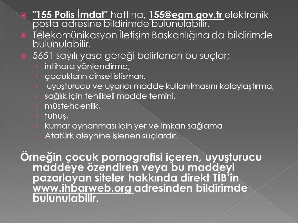 155 Polis İmdat hattına, 155@egm. gov