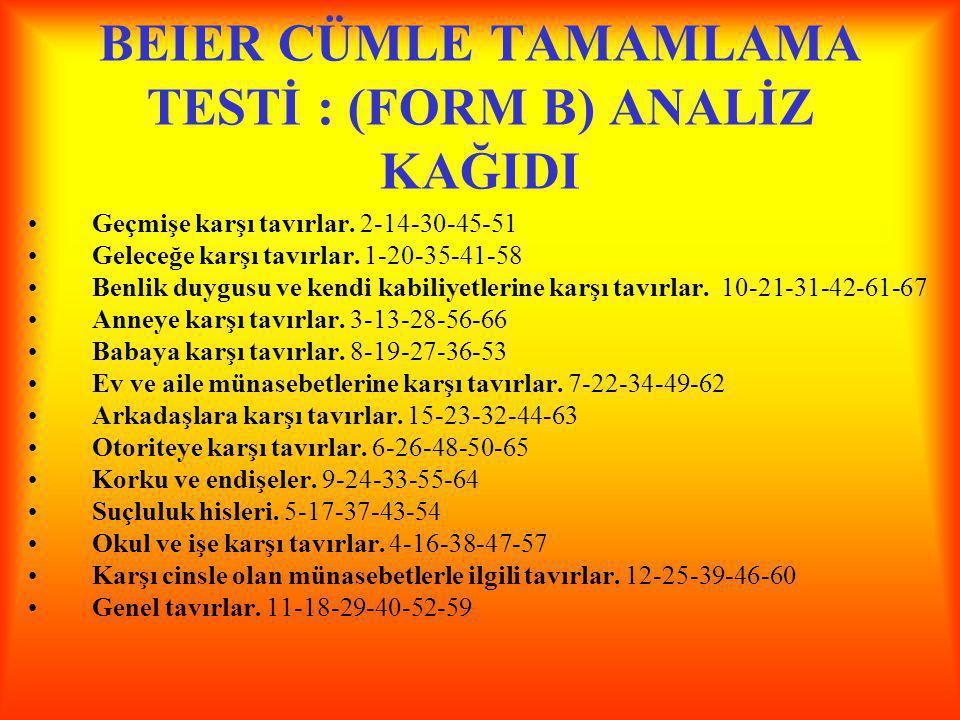 BEIER CÜMLE TAMAMLAMA TESTİ : (FORM B) ANALİZ KAĞIDI