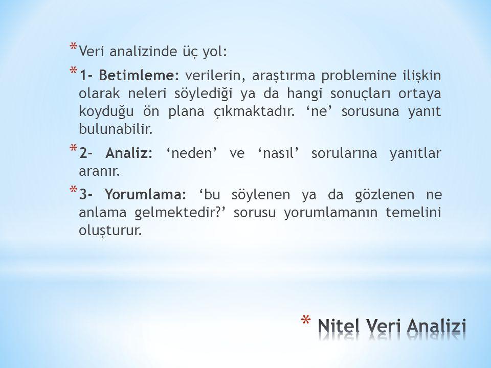 Nitel Veri Analizi Veri analizinde üç yol: