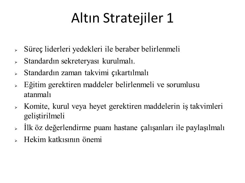 Altın Stratejiler 1 Süreç liderleri yedekleri ile beraber belirlenmeli