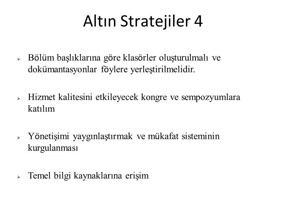 Altın Stratejiler 4 Bölüm başlıklarına göre klasörler oluşturulmalı ve dokümantasyonlar föylere yerleştirilmelidir.