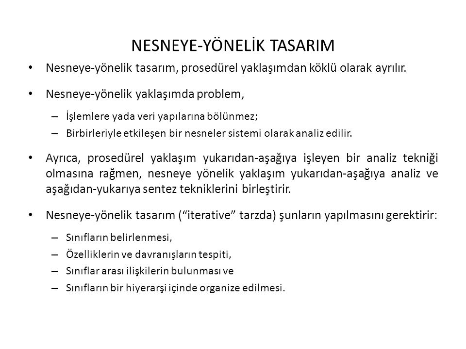 NESNEYE-YÖNELİK TASARIM