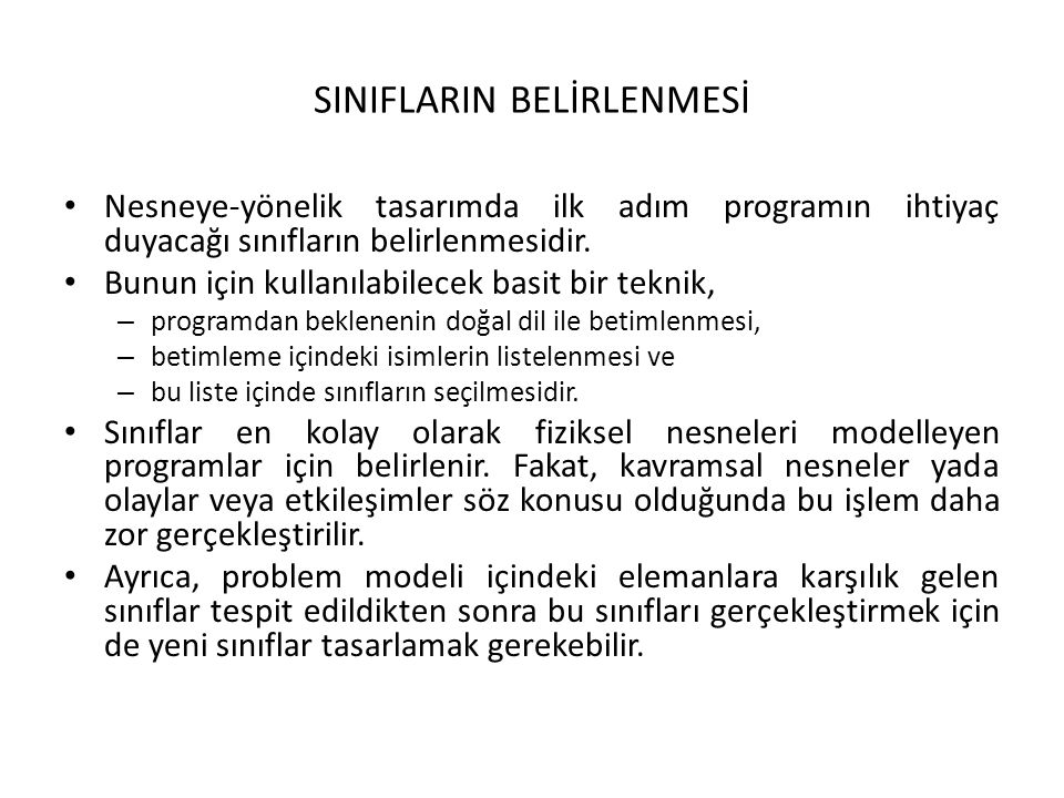 SINIFLARIN BELİRLENMESİ