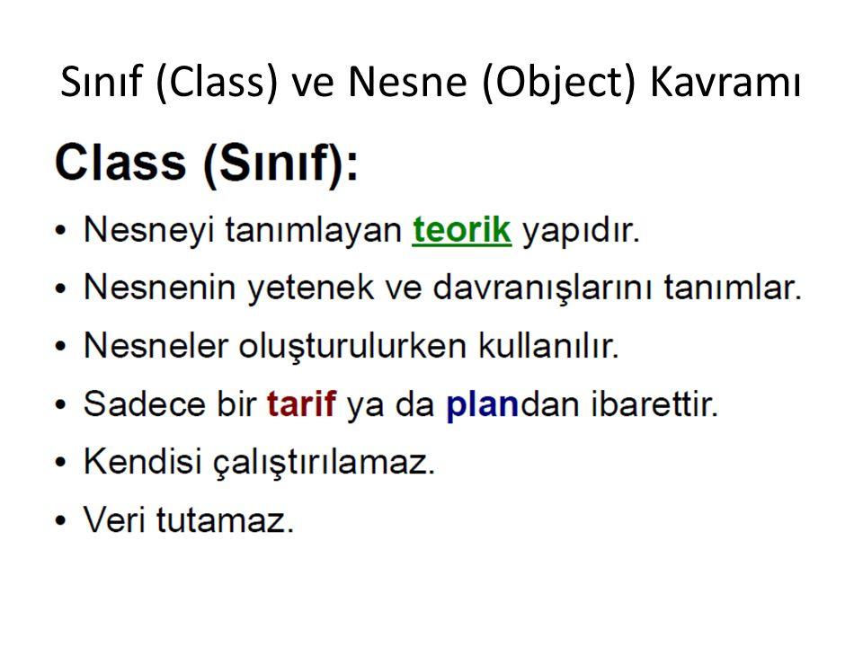 Sınıf (Class) ve Nesne (Object) Kavramı