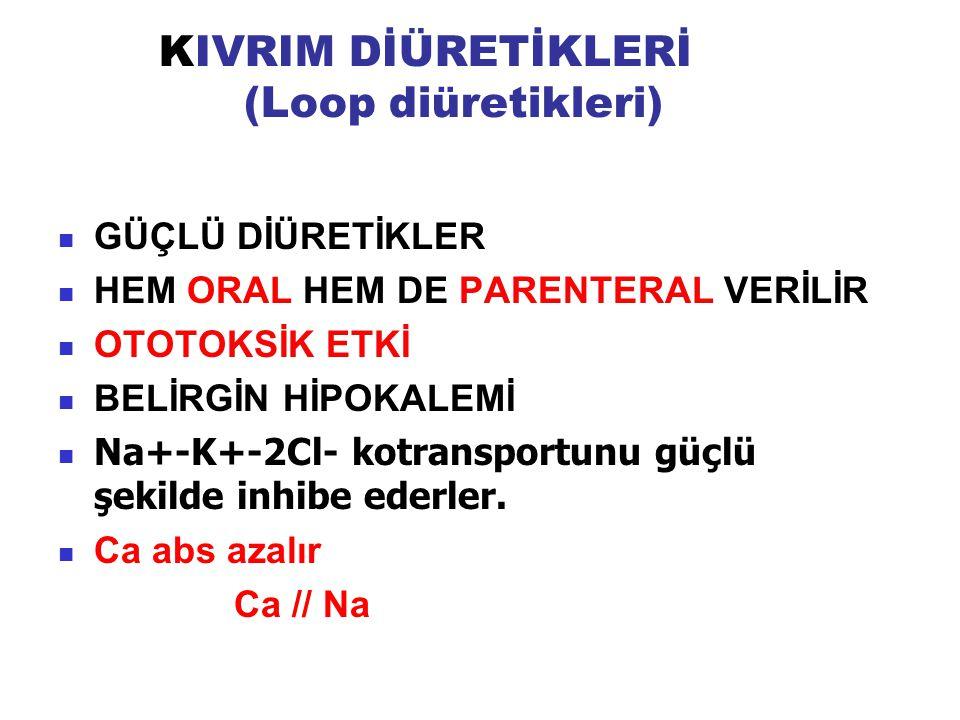 KIVRIM DİÜRETİKLERİ (Loop diüretikleri)