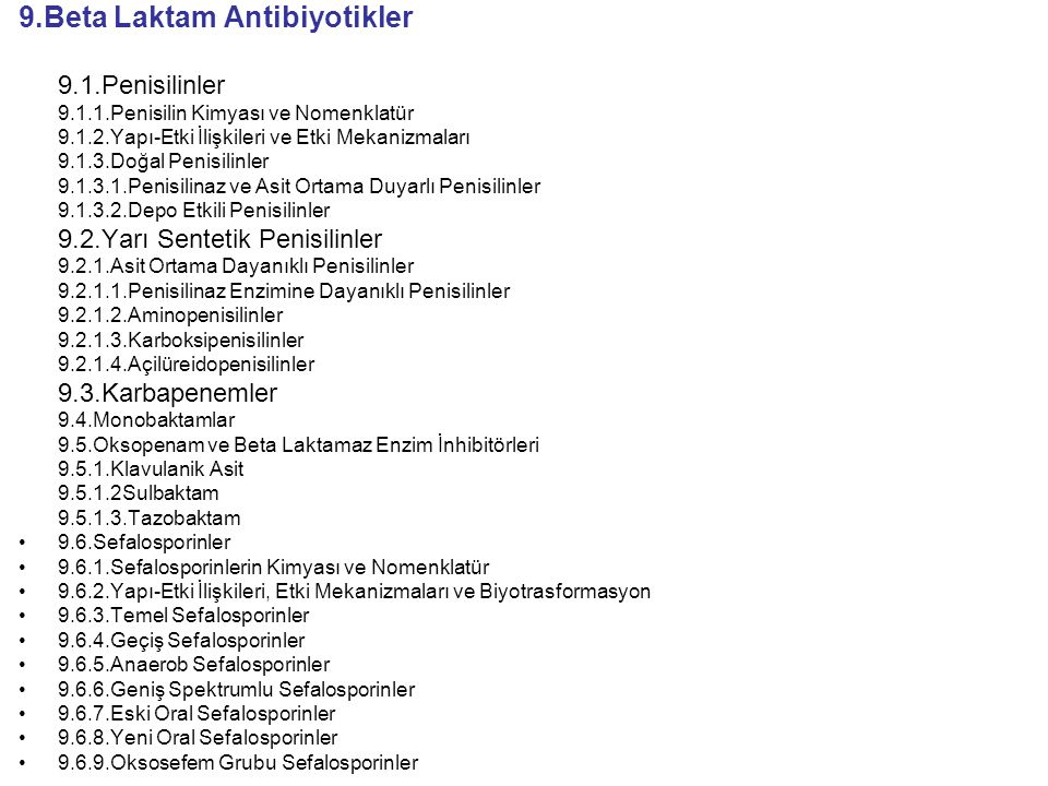 9.Beta Laktam Antibiyotikler