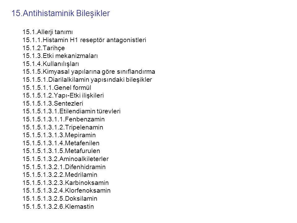 15.Antihistaminik Bileşikler