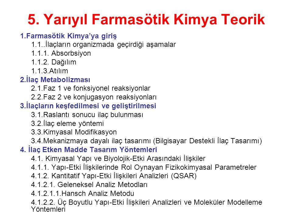 5. Yarıyıl Farmasötik Kimya Teorik