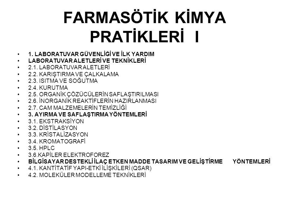 FARMASÖTİK KİMYA PRATİKLERİ I