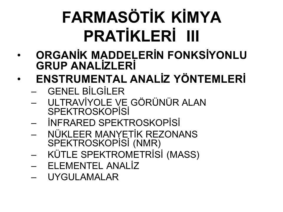 FARMASÖTİK KİMYA PRATİKLERİ III