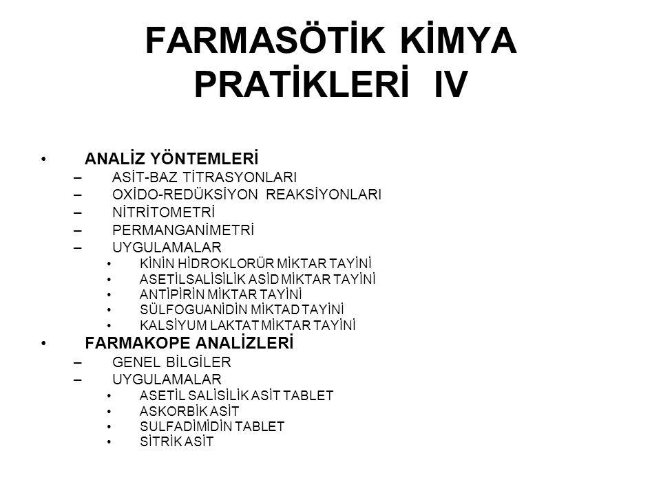FARMASÖTİK KİMYA PRATİKLERİ IV