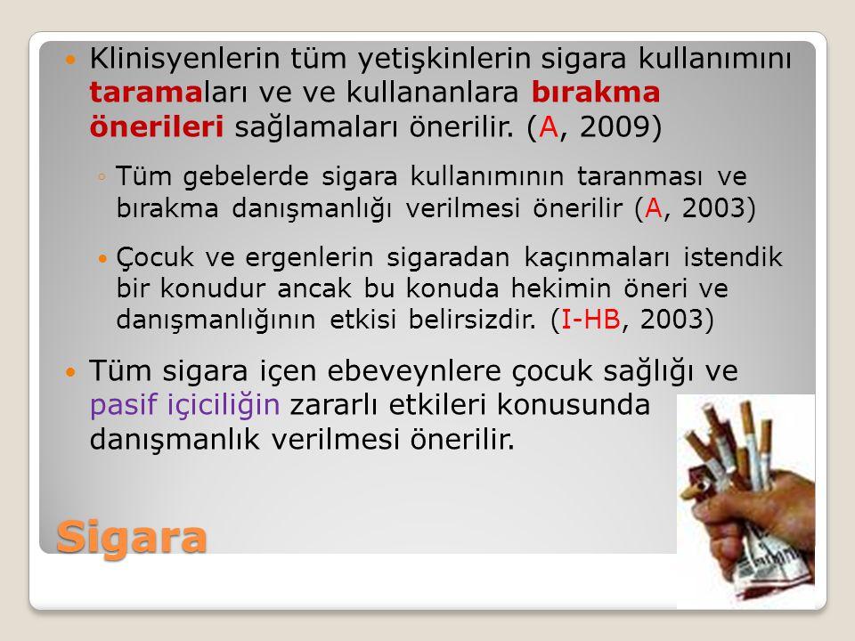 Klinisyenlerin tüm yetişkinlerin sigara kullanımını taramaları ve ve kullananlara bırakma önerileri sağlamaları önerilir. (A, 2009)