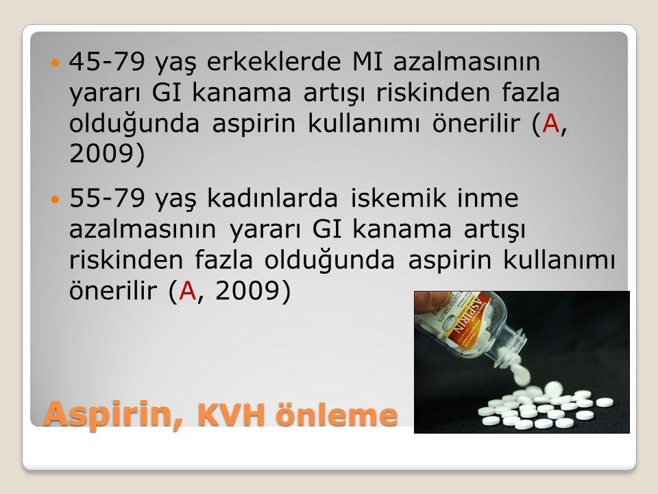 45-79 yaş erkeklerde MI azalmasının yararı GI kanama artışı riskinden fazla olduğunda aspirin kullanımı önerilir (A, 2009)