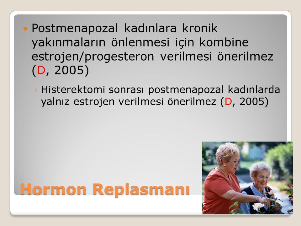 Postmenapozal kadınlara kronik yakınmaların önlenmesi için kombine estrojen/progesteron verilmesi önerilmez (D, 2005)